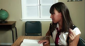 Teacher seduced by young dirty teenager with hard suck then fuck on table till jism