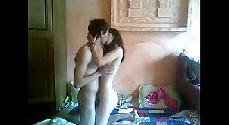 Youthful couple homemade lovemaking gauze