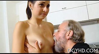 Horny juvenile babe screwed by old chap