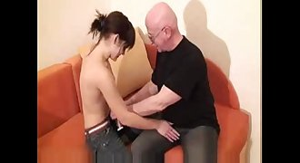 young Teen creampie hookup with Old man for Cash Money