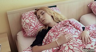 Youthfull blonde teen gets her cunt fucked hard and sucks the old man cock