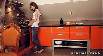 PARADISE FILMS Anal Teenage Couple in the kitchen